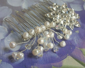 New handmade freshwater pearl swarovski crystal bridal haircomb