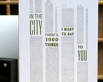 In The City mini print letterpress card