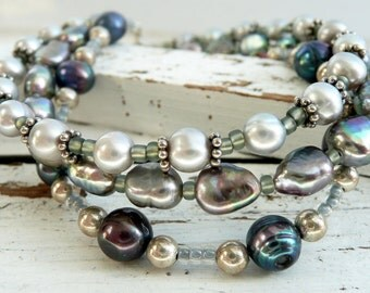 Handcrafted Artisan 3 Strand Grey, Purple Peacock Fresh Water Pearl, Sterling Silver, Seed Bead OOAK Boho Wedding Gift for Her Bracelet