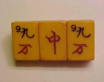 Bakelite Amber Mah-Jongg Pin Lucky 99 Jan Carlin Original