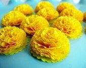 Button Mums Tissue Paper Flowers 1 inch Dandelion Yellow  Wedding, Bridal Shower, Baby Shower Decor