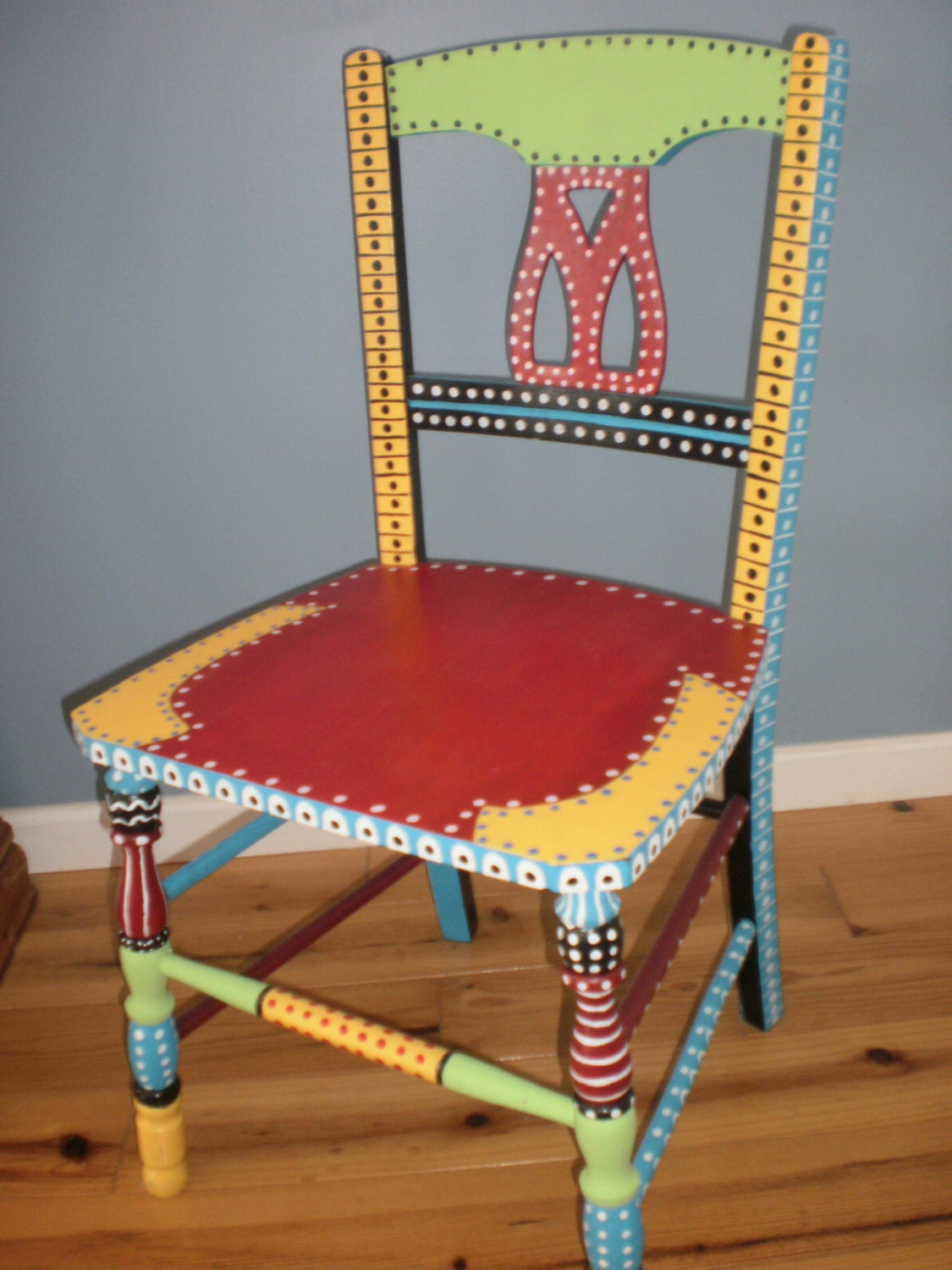 Hand painted whimsical chair gypsy folk art brilliant colors for Painting designs on wood furniture