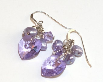 Lavender Swarovski Heart Earrings Radiant Orchid