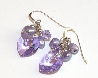 Lavender Swarovski Heart Earrings Radiant Orchid