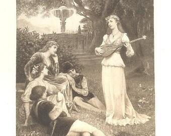WAGREZ 'EVEN SONG' PrettyWoman Music White Dress Paris France ~ Vintage 1890s French Paris Salon Antique Art Print [inv#92leS 19