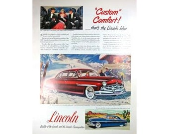 Lincoln Cosmopolitan 1940s Large Vintage Advertising Man Cave Garage Wall Art Decor E123