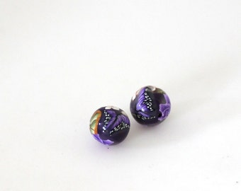 Purple Rose Beads, Polymer Clay Beads, Mauve Roses, Pair Clay Beads