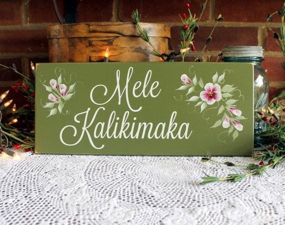 Mele Kalikimaka Hawaiian Christmas Wood Sign Wall Decor