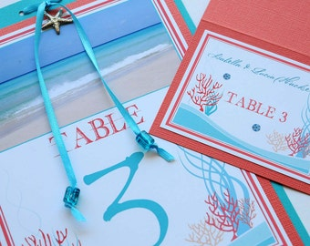 Tropical Coral Reef Beach Destination Wedding Table Numbers and Place Cards - Cuba