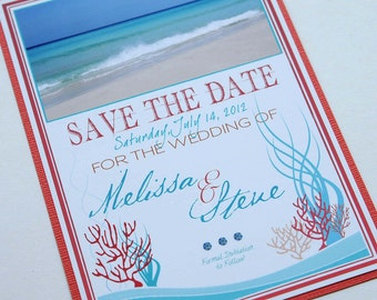 Tropical Coral Reef Beach Destination Wedding Save the Date - Cuba