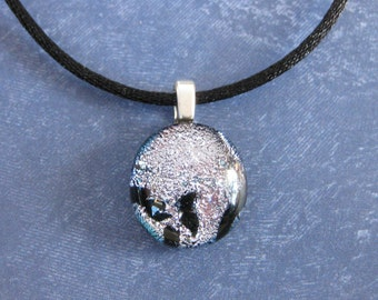 Silver Pendant, Small Dichroic Necklace, Christmas Jewelry, Ready to Ship, Fused Glass Jewelry  - Mae - 4575 -3