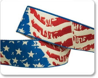 1 Yard Distressed American Flag Jacquard Ribbon