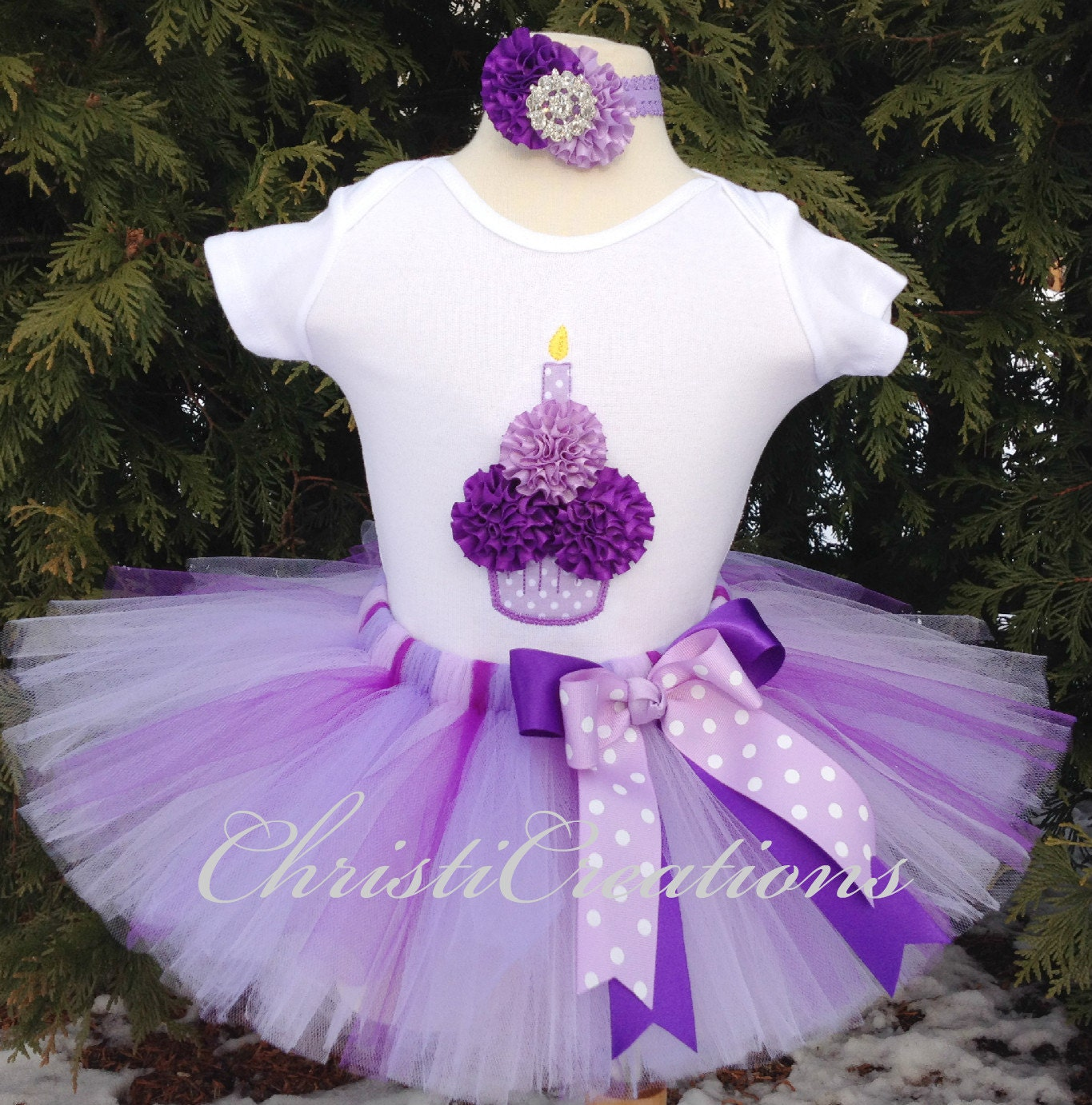 Birthday Party Outfit: First Birthday Tutu Outfit Purple 3D Cupcake By