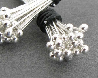 "26 Gauge 2 Inch Sterling Silver Headpins, Argentium Silver, Handmade Ball End 2"" Headpins, Choose from 20, 50, 100, 500, or 1000 Headpins"