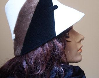Mod French Bucket Hat Vintage Midcentury Geometric 50s 60s Mad Men Twiggy Aurore Millinery