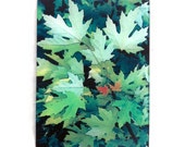 Maple leaves, glass cutting board, gift, wedding gift, tempered glass, green leaves, nature gift,