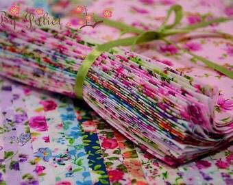 Fabric Cotton 33 Designs Floral Flower Print mixed pre cut piece bundle assorted assortment collection grab mix scrap material pack gift set