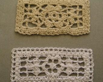 White and Ecru Crochet Rectangular Doily - 30 pieces