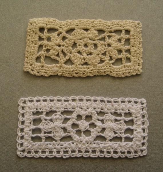 Free Crochet Patterns For Rectangular Doilies : White and Ecru Crochet Rectangular Doily 30 pieces