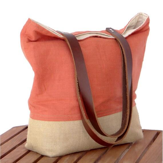 Orange Linen Tote, Market Tote, Burlap Beach Bag, Summer Tote, Tote Bag, Carry All, Orange Bag, Linen Leather Tote, Resort Bag, Burlap Tote