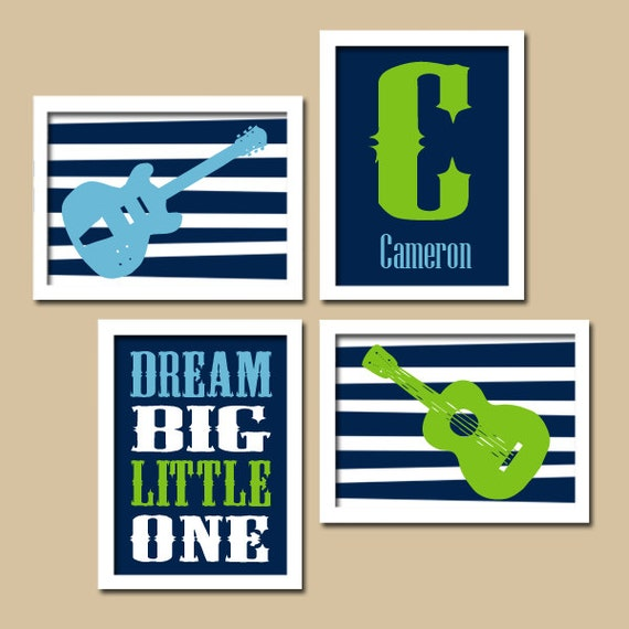 Navy Green Guitar Wall Art Music Theme Nursery Boy By