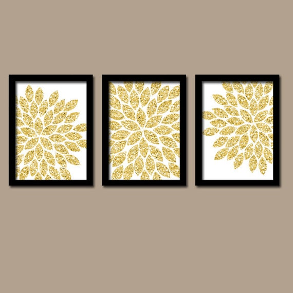 Gold Glitter Wall Decor : Glitter gold wall art canvas or prints faux by