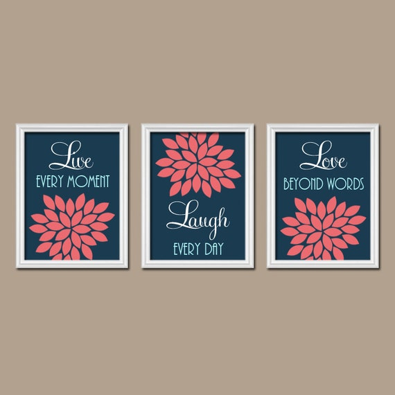 Navy Bathroom Wall Decor : Navy coral wall art canvas or prints live laugh love by