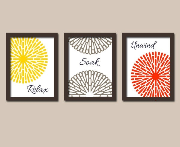 Bathroom Wall Decor Red : Bathroom wall art canvas or prints yellow red brown by