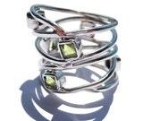 Gold Peridot Ring 14k White Engagement Rings for Women