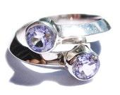 Gold Amethyst Ring 14k White Gold Purple Gemstone Engagement Rings