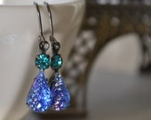 Sapphire and Zircon Glass Druzy Estate Earrings, Gunmetal Lever Back, Vintage Sapphire and Zircon Earrings, Hollywood