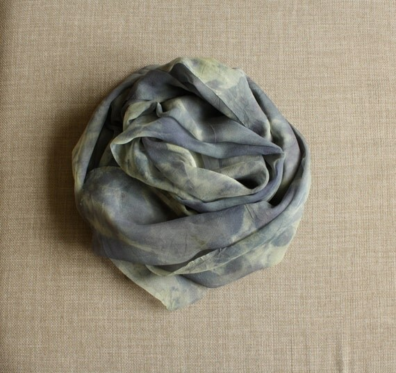 Eco Print Silk Scarf, Blue Purple Naturally Dyed Woman under  40 sale