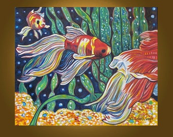 Art Painting Original Painting -- Travelling Goldfish -- 20 x 24 inch oil painting by Elizabeth Graf -- READY to HANG