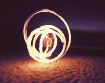 Fine art photography night photography Maui beach wall art tribal fire poi spiral 'Fire Dancer'
