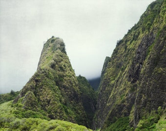 "Photography wall art, green mountain landscape in Hawaii ""Mountain Mist"""