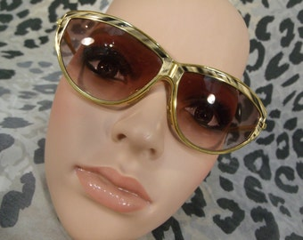 vintage sunglasses glasses french cat eye jean pierre lamy gold tone paris geomteric 70s 80s over size huge big lenses