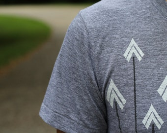 Tshirt men - graphic tee with bright white arrows on American Apparel gray - Headhunter by Blackbird Tees - CLOSEOUT