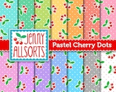 Pastel Cherry Dots Digital Scrapbook Papers - 14 sheets in pastel colors - for invites, card making, digital scrapbooking