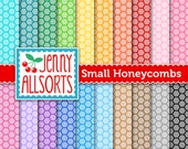 Small Honeycomb Digital Papers in Bright Colors for Scrapbooking, Papercraft and Digital Design - 20 Sheets - Instant Download