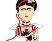 Frida Kahlo art, card, eco envelope, illustration, mexican art, artist, love you card