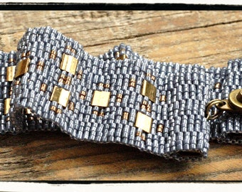 Peyote beaded bracelet cuff in DENIM and GOLD