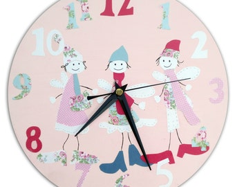 Fairies Clock  / Children's wall Clock / Girl's Nursery Clock / Nursery Decor