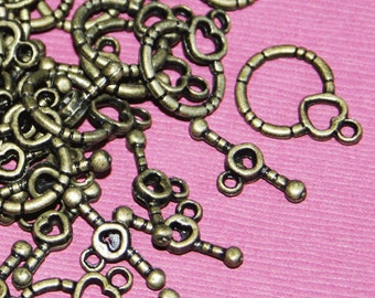 100 sets of Antiqued brass fancy toggle clasps 18x13mm