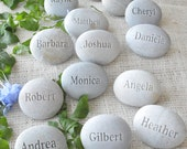 Personalized Wedding guest gifts and place setting - set of 60 engraved stones with Guests' Names  - wedding stones by sjEngraving