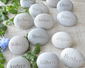 Personalized Wedding guest gifts and place setting - set of 50 or 60 engraved stones with Guests' Names  - wedding stones by sjEngraving