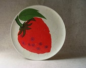 vintage mid century mod strawberry cocktail tray - silocurb