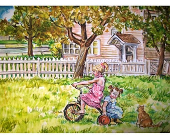 BIG SISTER & Little Sister - 11x15 original painting landscape watercolor OOAK, Girl, Cat, Yard, Tricycle, House, Summer