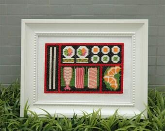 Bento Box Sushi Cross Stitch Pattern Instant Download