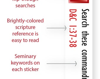 INSTANT DOWNLOAD - LDS Scripture Mastery / Seminary / Scripture Stickers - Ruby Red