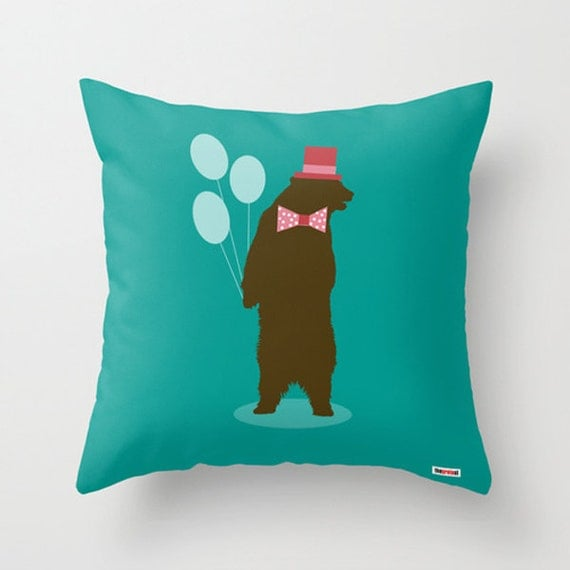 Funny Throw Pillow Covers : Party bear throw pillow cover Funny pillow Cushion cover